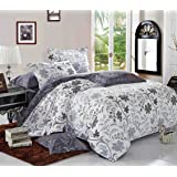 3pcs Duvet Cover Set, Reversible with White and Bluish Dark Gray/Grey, Soft Microfiber Bedding (California/ Cal King Size)