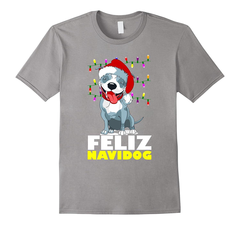 Feliz Navidog Cute Pitbull Christmas Lights T-Shirt-BN