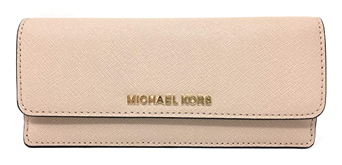 65b78e32a509fd Michael Kors Jet Set Travel Leather Flat Wallet (Ballet): Amazon.co.uk:  Clothing