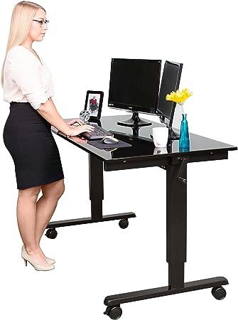 Amazoncom 60 Crank Adjustable Height Standing Desk Black Frame