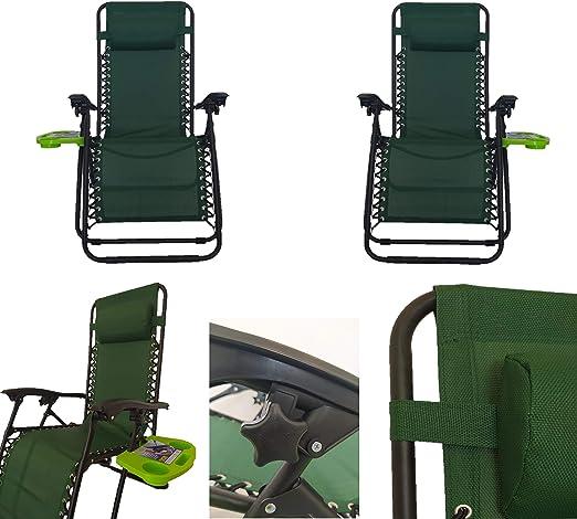 Pincho Sillón Relax Gravedad Zero, Tumbona Plegable Multiposiciones para jardín, terraza, Camping (Verde 2 Unidades): Amazon.es: Jardín