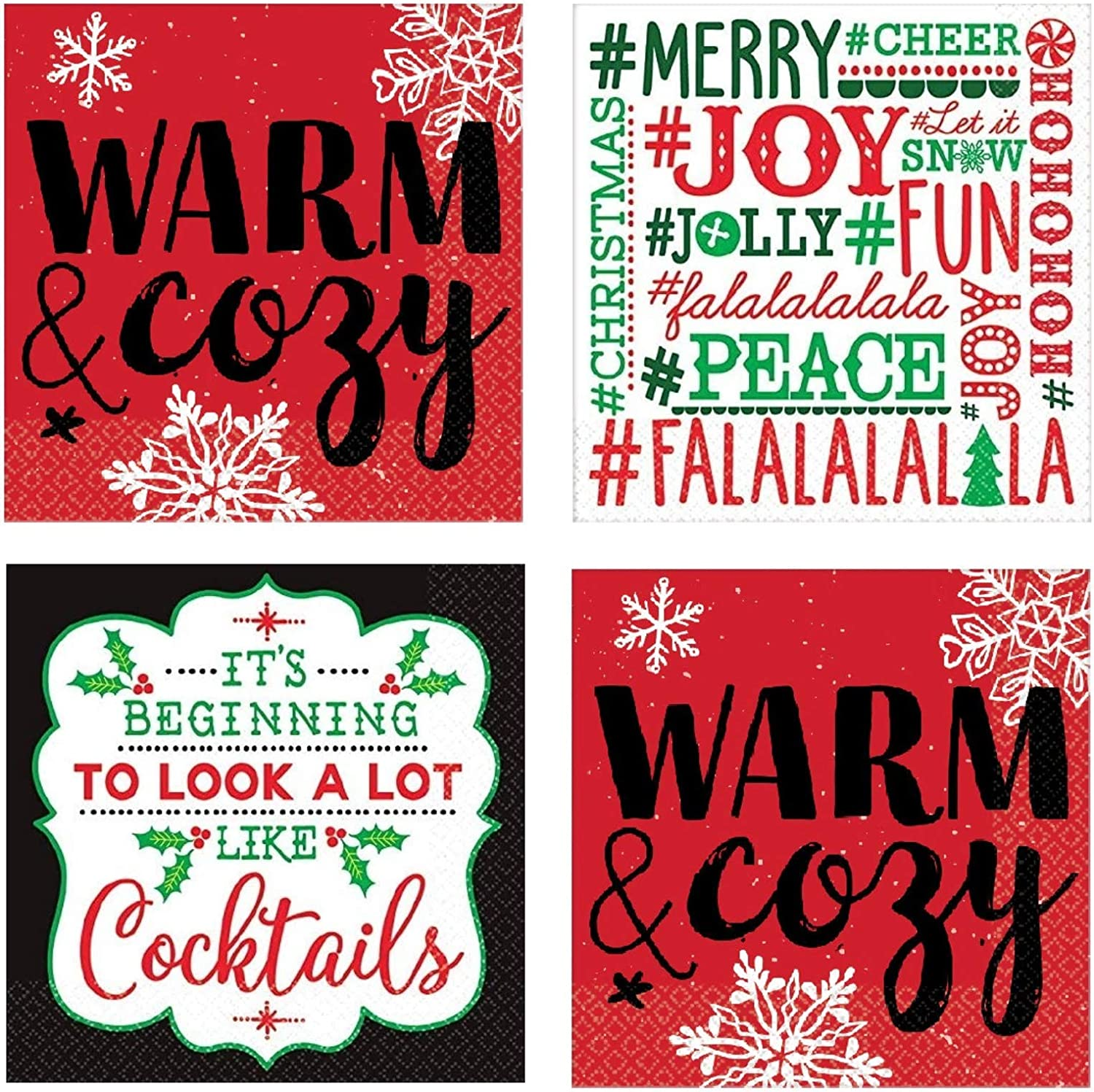 Funny Christmas Cocktail Napkins 48 Count Set Phrases Assorted Variety Pack Beverage Paper Napkins Snarky Sarcastic Fun