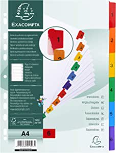 Exacompta Mylar Printed Indices, A4, 6 Part (1-6) - White