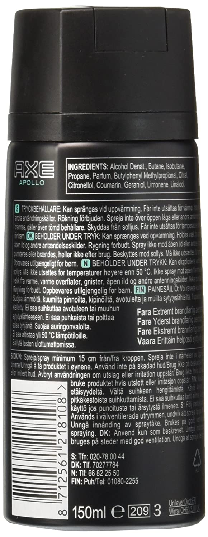 Axe Body Spray For Men Apollo 4 Ounce Twin Pack Beauty Deodorant Bodyspray Score 150 Ml