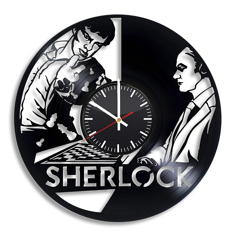 OlhaArtShop Sherlock Holmes Benedict Cumberbatch John Watson Vinyl Wall Clock, Vinyl Record Handmade Art Decor for Home Room Kitchen, Vintage Original Gift for Any Occasion, Party Supplies Decoration