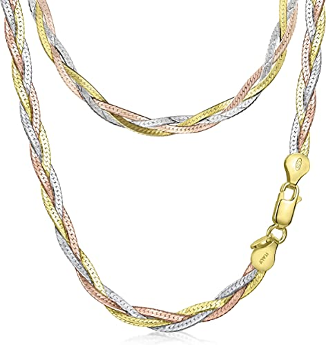 Braided Chain Necklace Gold  Plated Twisted Herringbone Chain Necklace Choker