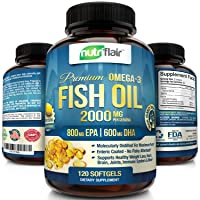NutriFlair Omega 3 Fish Oil Supplement - Enteric Coating - Burpless, No Fishy Aftertaste...