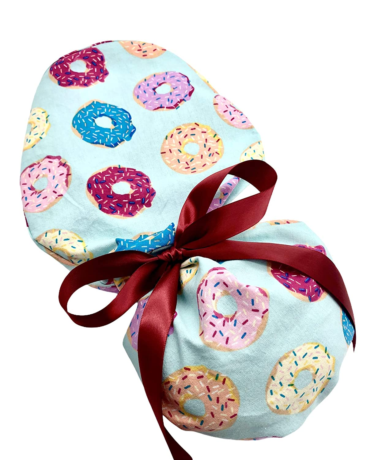 you choose Ponytail Scrub Cap 5 color options available for tie backs Donuts with sprinkles.