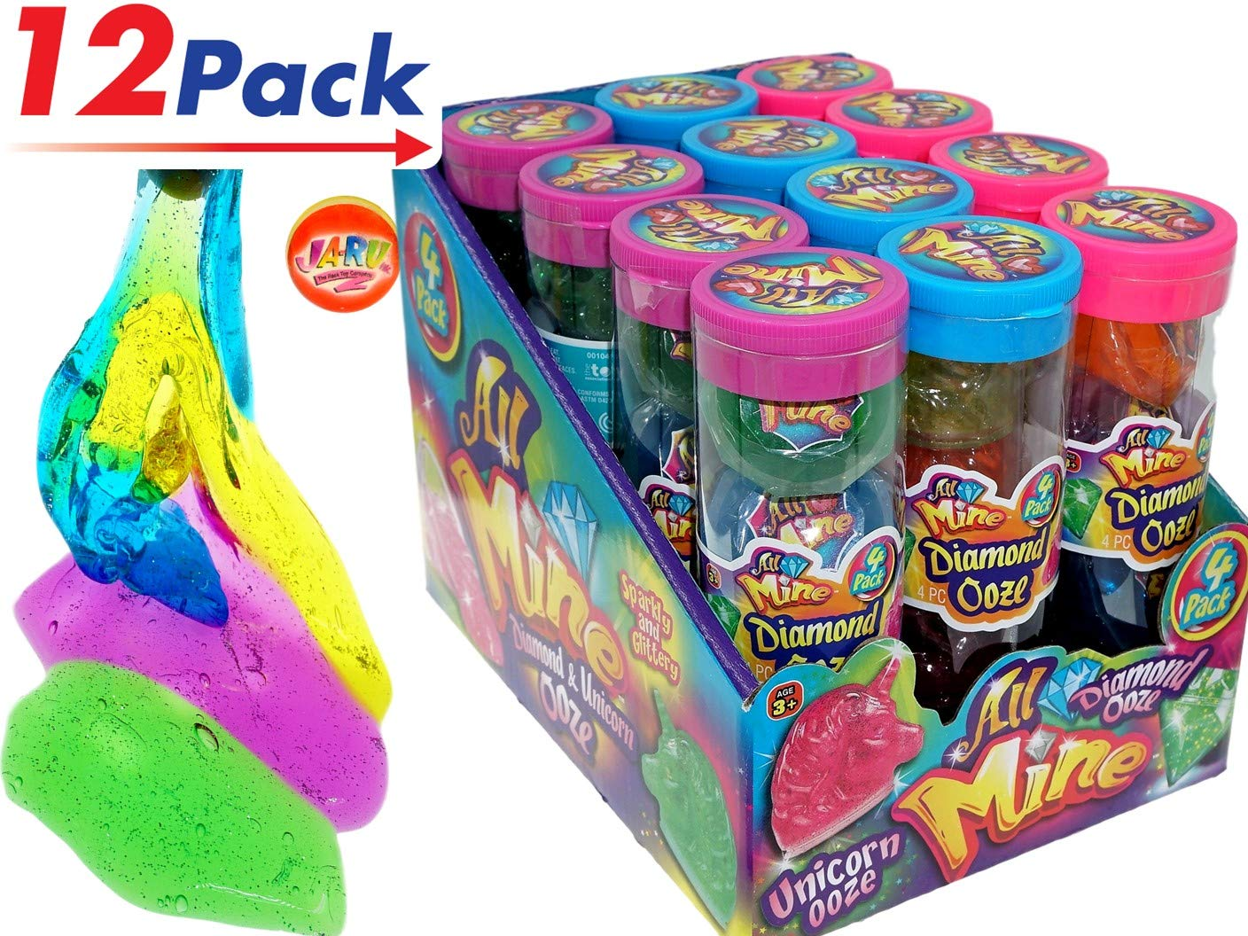 JA-RU Diamond & Unicorn Ooze Tube Packs Putty (12 Tubes with 48 Units) Plus 1 Collectable Bouncy Ball Multi Color Crystal | Item #4635-12p