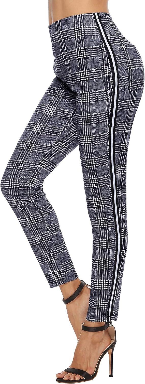 Akalnny Mujer Pantalones Largas Verano Elásticos Pantalon Estampadas Moda con Banda Lateral para Calle Compras