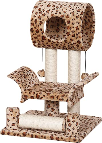 Catry Leopard Print Cat Tree Condo House, 18 x 18 x 28 , Brown