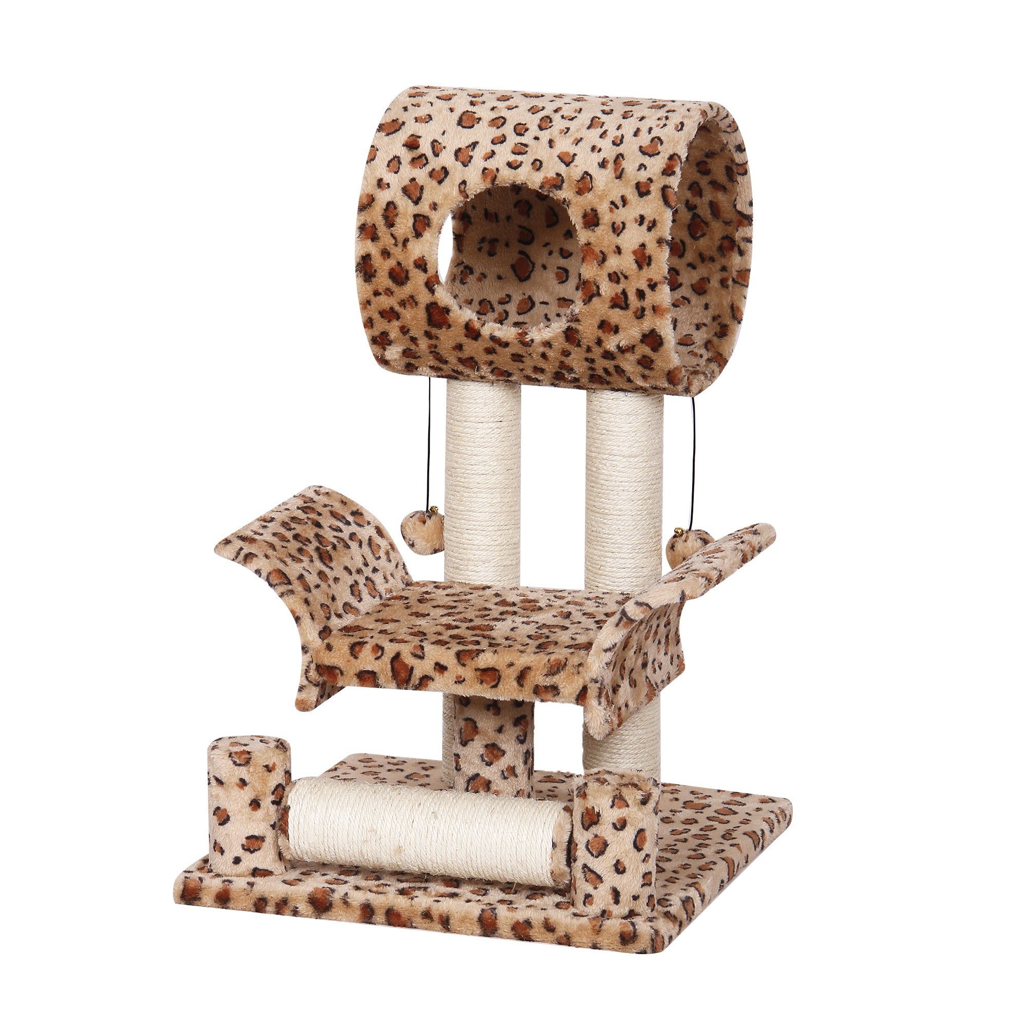 Catry Leopard Print Cat Tree Condo House, 18'' x 18'' x 28'', Brown