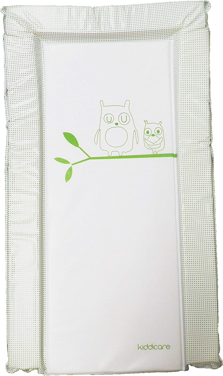 Essential Unisex Waterproof Nursery Baby Changing Mat with Raised Edges Green Owl Design