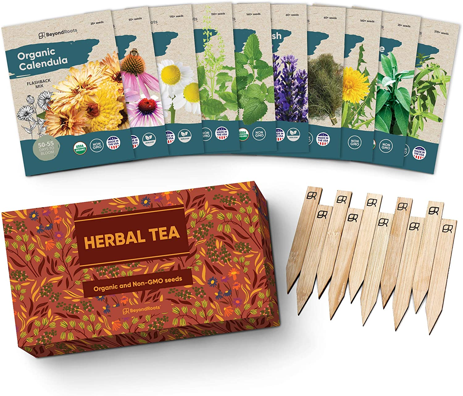 Herbal Tea Seeds Variety Pack - 10 Medicinal Herbs Seed Packets - Certified Organic Non GMO Herb Seeds - Gifts for Tea Lovers