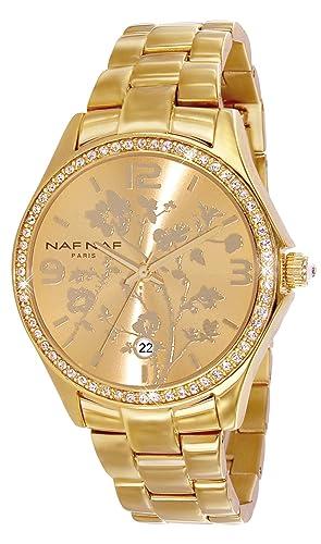Naf Naf N10024G-102 - Reloj analógico para mujer de acero Inoxidable Resistente al agua dorado: Amazon.es: Relojes