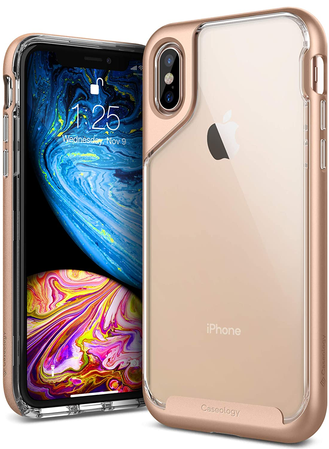 Caseology for iPhone XS Case [Skyfall Series] - Clear Slim Fit Corner Cushion Enhanced Drop Protection Transparent Design Case for iPhone XS 5.8 (2018) & iPhone X (2017) - Gold CO-IP8-SKY-CG