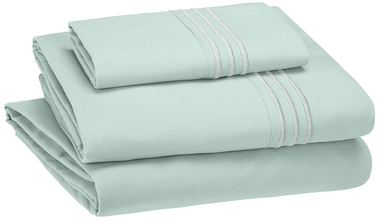 AmazonBasics Embroidered Hotel Stitch Sheet Set - Premium, Soft, Easy-Wash Microfiber - Twin, Seafoam Green