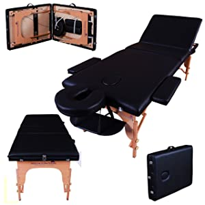 Massage Imperial¨ Deluxe Lightweight Black 3-Section Portable Massage Table Couch Bed Reiki