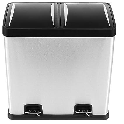 Kendan - 60 Litros Cubo de basura de Acero inoxidable a prueba de huellas dactilares Basurero reciclaje sistema de separación de basuras Con penal Dos ...
