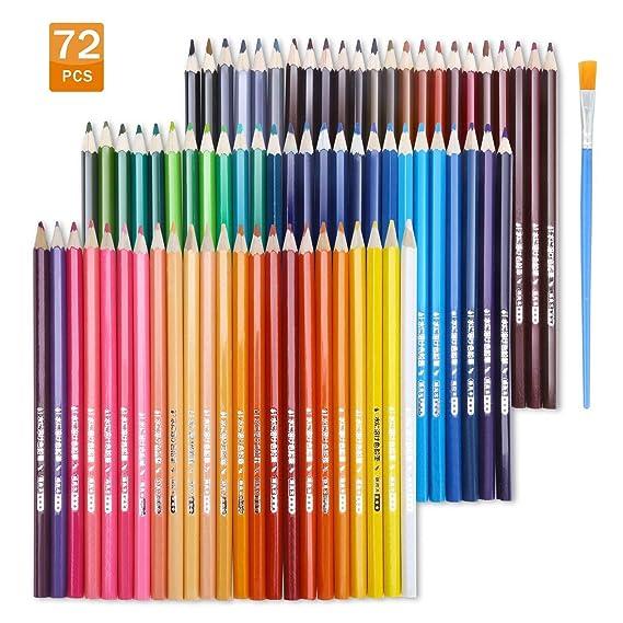 TOPERSUN Crayon de Couleur Aquarelle Numérotés Set de 72 Couleurs Aquarellables Uniques Pré-taillé pour Coloriage en Etui Carton Meilleur Cadeau Idéal pour les Enfants et Artistes