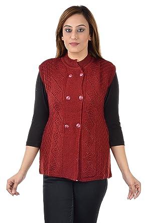 Shree Mark Womens / Ladies / Girls Woolen Sleeveless Winter Wear Buttoned  Cardigan and Womens /