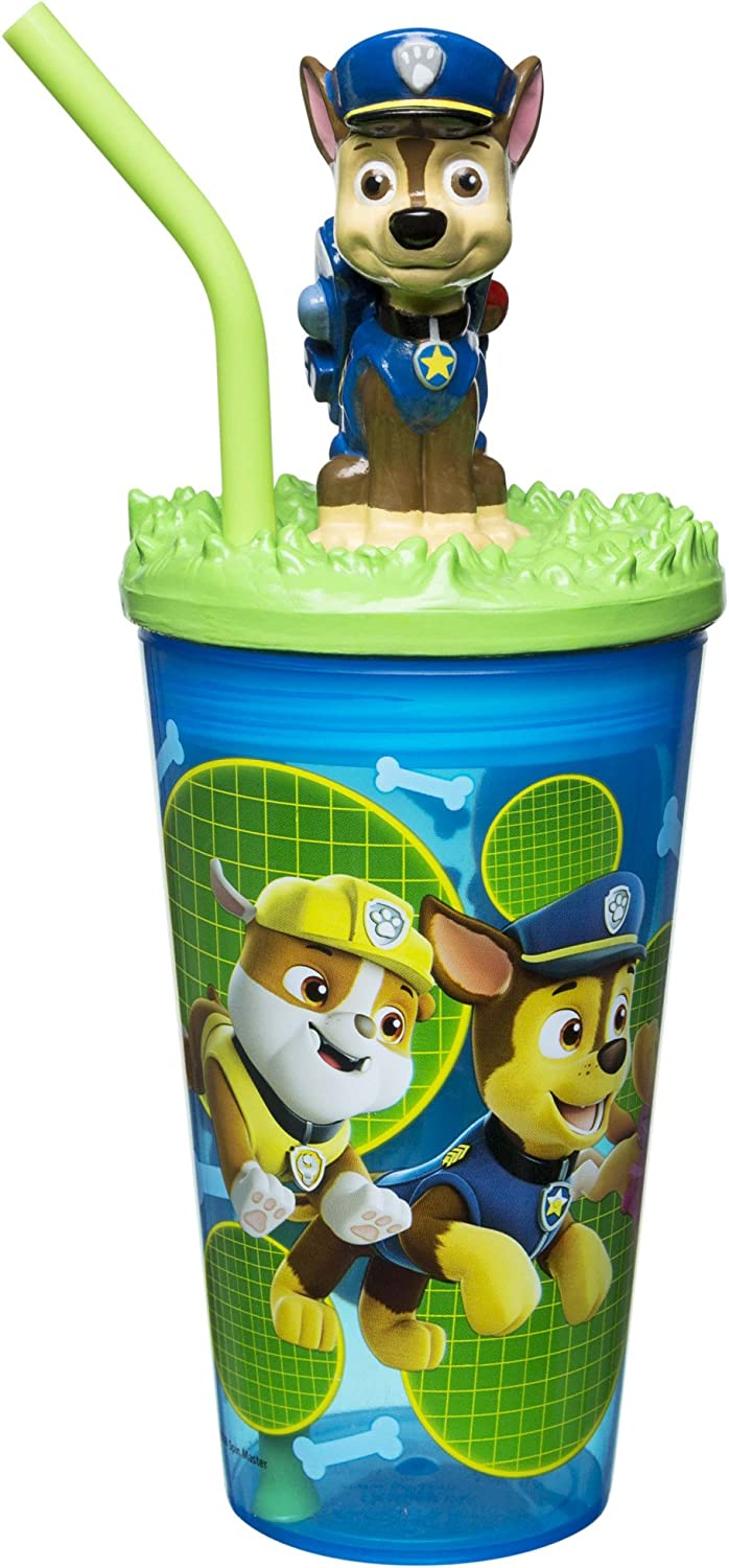 Zak Designs Paw Patrol - Funtastic Tumbler with Straw and Unique 3D Character on Lid, 360 Degrees Sculpted Design Stands Out, Screw-On Lid with Durable Straw Keeps Liquids In (15oz, BPA-Free)