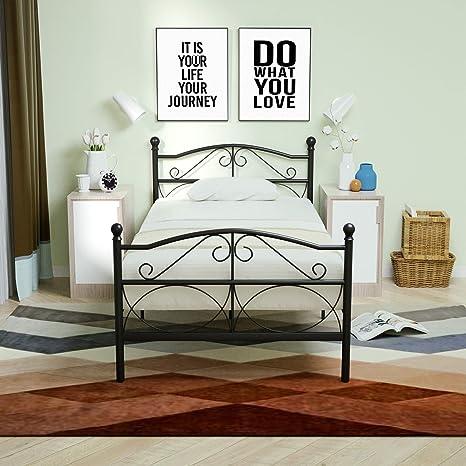 Mecor - Marco de cama de metal curvado de 12.6 pulgadas, con ...