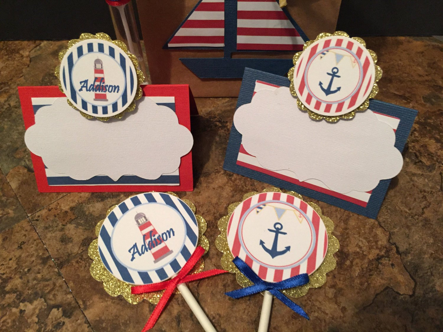 12 Nautical Party Decoration New...Nautical Personalize Cupcake Toppers, Toppers