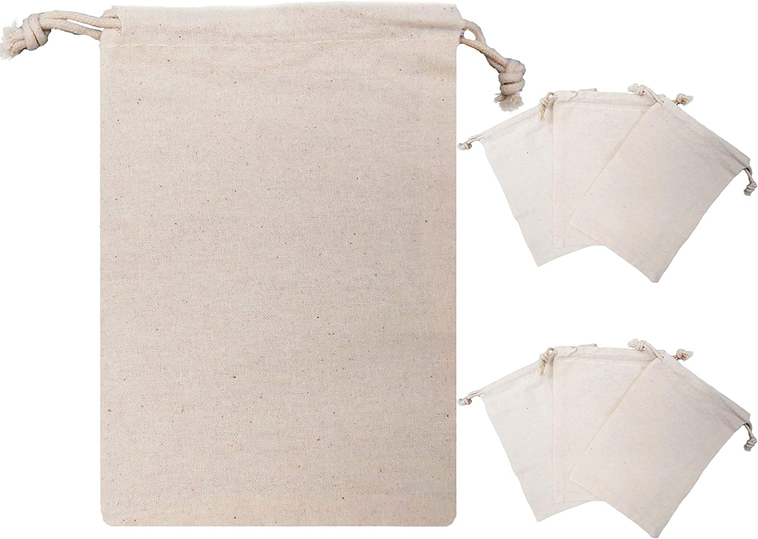 Calary 50pcs Double Canvas Drawstring Gift Bag Cotton Pouch Gift Sachet Bags Muslin Bag Reusable Tea Bag 5x7 Inch