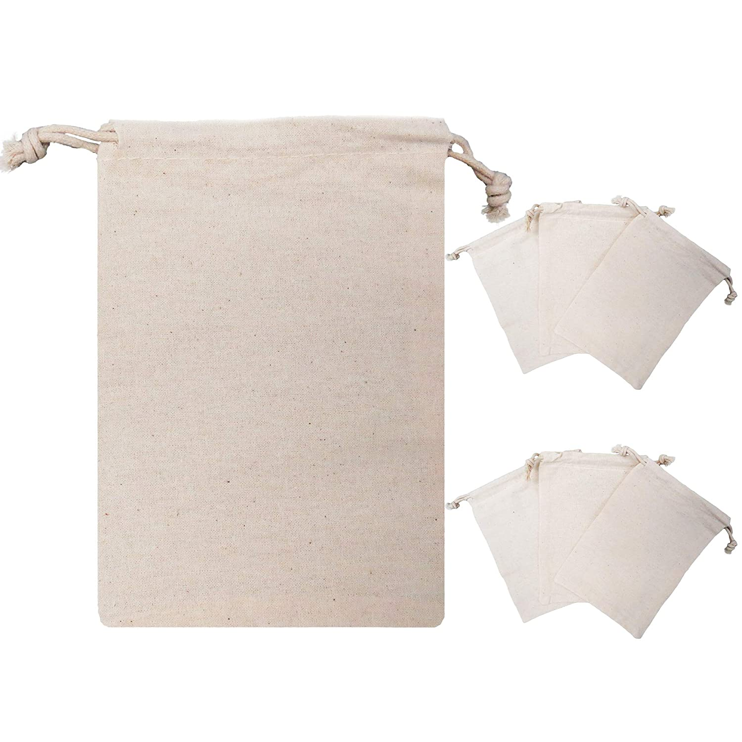 !Rakrisa 25 Pcs 3X4 Inch Muslin Double Drawstring Bags | Light Tan Muslin Bags für Party Favors, Baked Treats & Gifts