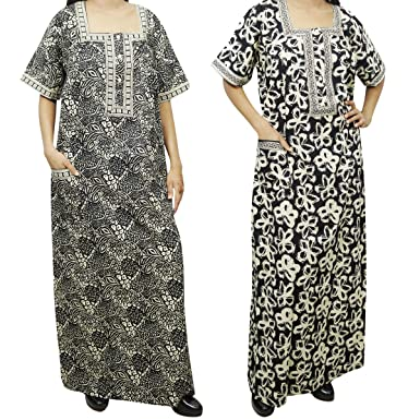 a835684a994 Image Unavailable. Image not available for. Color  2 pc Women s Caftan Maxi  Dress Black Printed ...