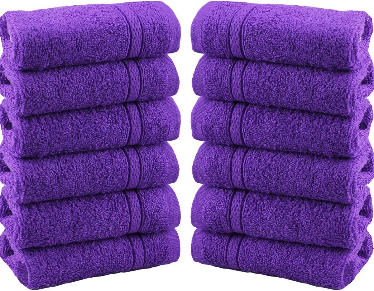 Morado algod/ón Juego de 12 toallas para la cara de gamuza 100 /% algod/ón de 550 g//m/² 12 Pieces Set