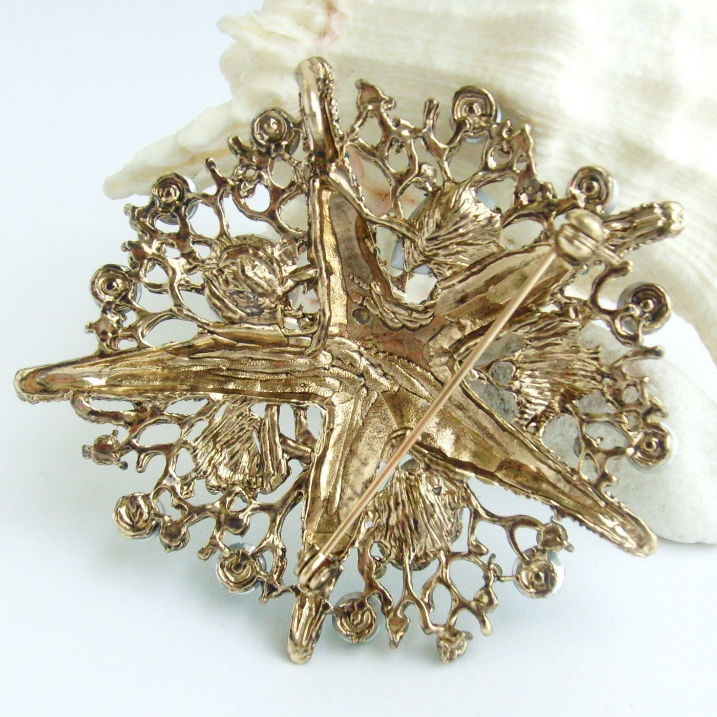 Sindary 3.15'' Starfish Brooch Pin Austrian Crystal Pendant BZ6412 (Gold-Tone Green) by Sindary Jewelry (Image #5)