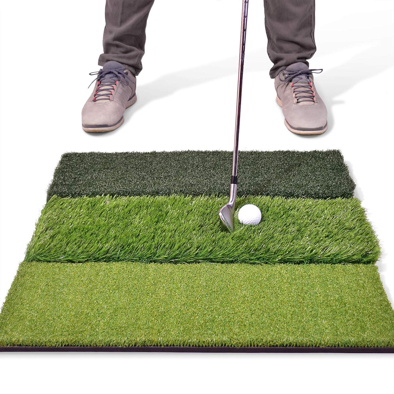 GoSports Tri-Turf XL Golf Practice Hitting Mat Huge 24 x 24 Turf Mat for Indoor Outdoor Training