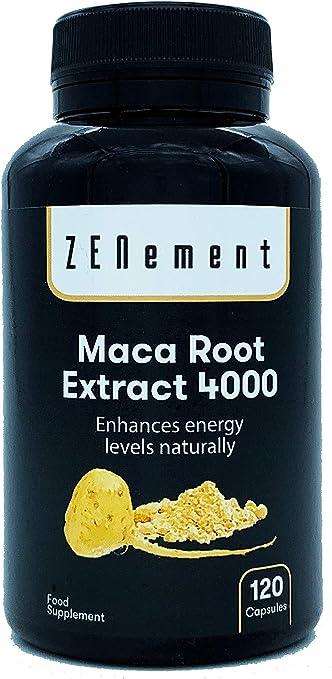 Maca péruvienne, hautement concentrée 4000mg, 120 capsules, améliore l'énergie, la performance athlétique, la mémoire, la libido, le système immunitaire et les déséquilibres hormonaux | 100% naturel