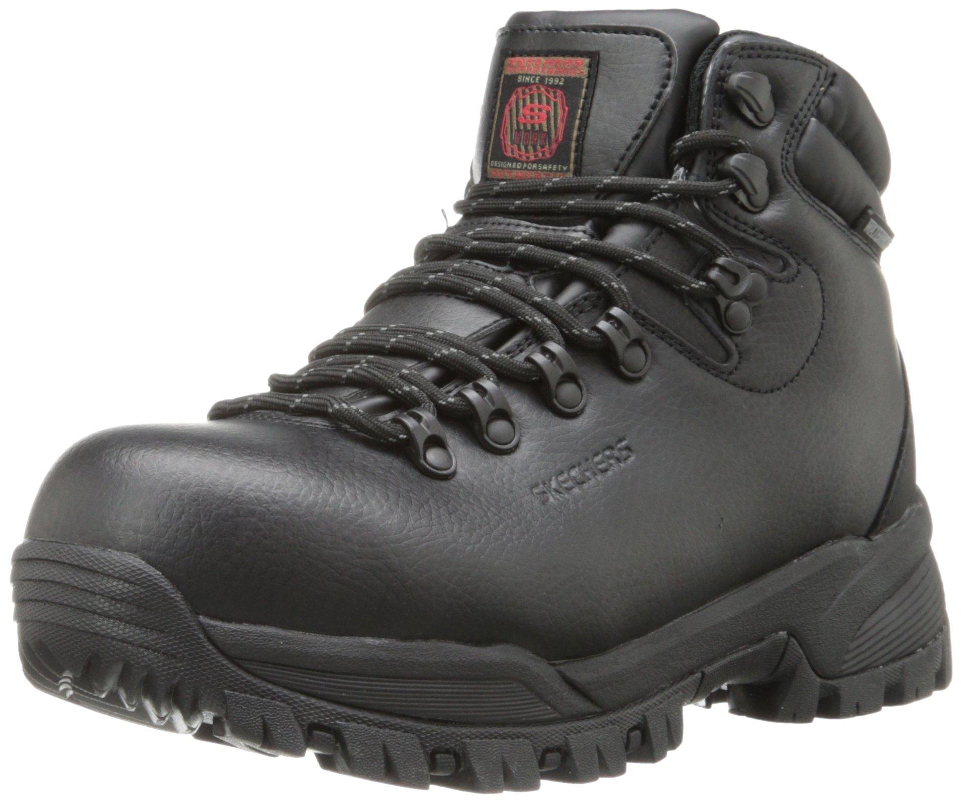 Skechers for Work Men's Vostok Slip Resistant Work Boot,Black,12 M US