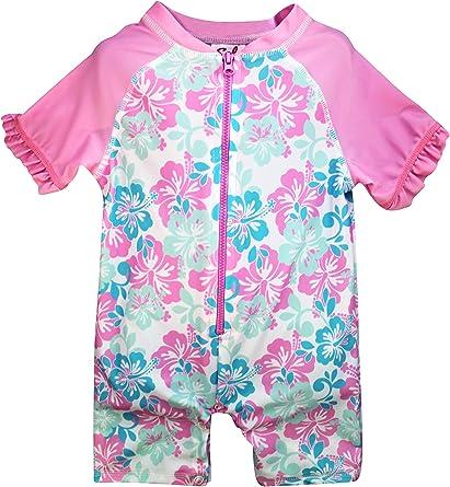 Sol Swim Girls Long Sleeve 2-Piece Rashguard Swimsuit Set Swimwear for Kids