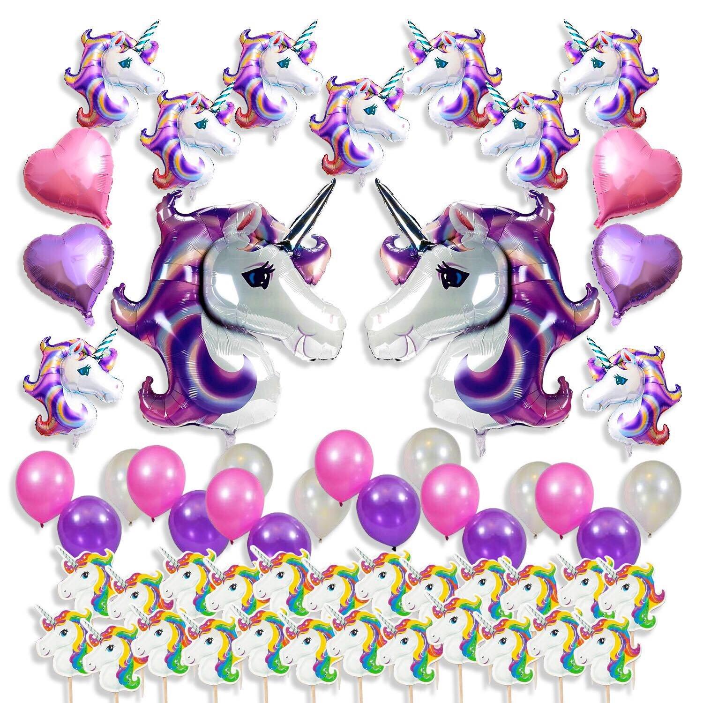 ユニコーンパーティーSuppliesセット、Favors for Kids Happy誕生日デコレーション、ベビーシャワー& # x1 F984 ;フローティングHuge Unicorns、ハートShaped Foil、ラテックスバルーン&カップケーキトッパー、57パックGirlsユニコーンテーマ装飾   B07B3M7CDW