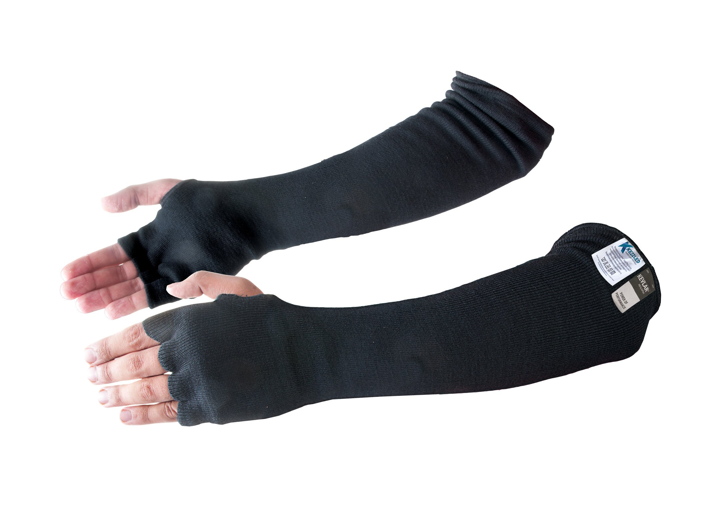Kevlar Cut & Heat Resistant Designer Arm Sleeves with Finger Openings - Black 18 inches by Kezzled