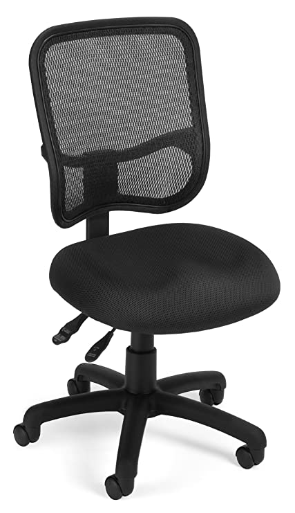 OFM Comfort Series Ergonomic Mesh Swivel Armless Task Chair, Black