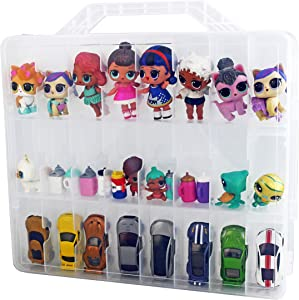 Bins & Things Toys Organizer Storage Case with 48 Compartments Compatible with LOL Surprise Dolls, LPS Figures, Shopkins and Lego Dimensions (Clear)
