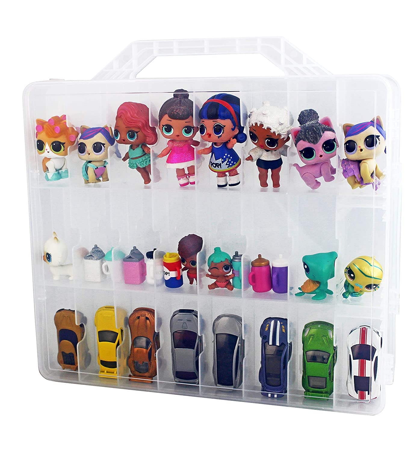 Bins & Things Toys Organizer Storage Case with 48 Compartments Compatible with LOL Surprise Dolls, Hot Wheels, LPS Figures and Shopkins