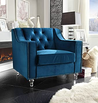 iconic home dylan modern tufted navy blue velvet club chair with silver nail head trim u0026 - Blue Velvet Chair