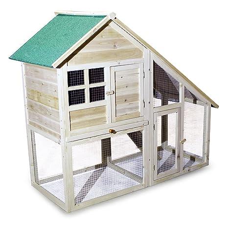 Caseta para animales pequeños de 2 pisos con espacio Gallinero Conejera Roedores exterior