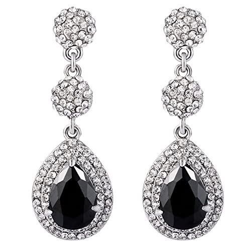 EVER FAITH® Women's Bling CZ Austrian Crystal Bridal Teardorp Pireced Dangle Earrings Silver-Tone QuaepSgLy
