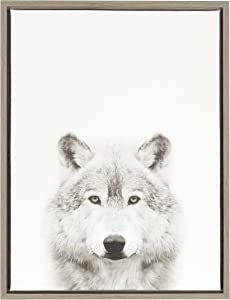 Kate and Laurel Sylvie Wolf Black and White Portrait Framed Canvas Wall Art by Simon Te Tai, 18x24 Gray