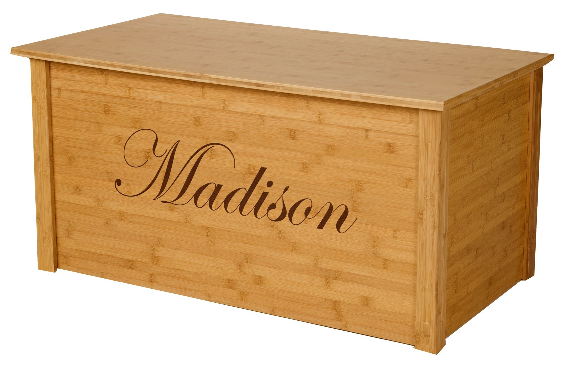 Wood Toy Box, Large Bamboo Toy Chest, Personalized Edwardian Font, Custom Options (Cedar Base)