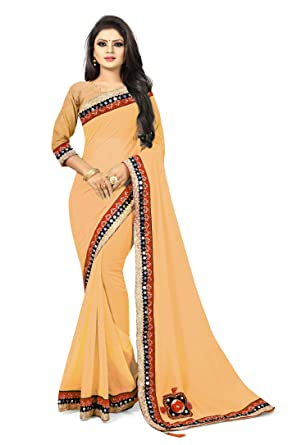 d162d0ce8f1ee9 Febo Fashion Cream Color Faux Georgette Fabric Mirror And Patch Work Saree  For Women  Amazon.in  Clothing   Accessories
