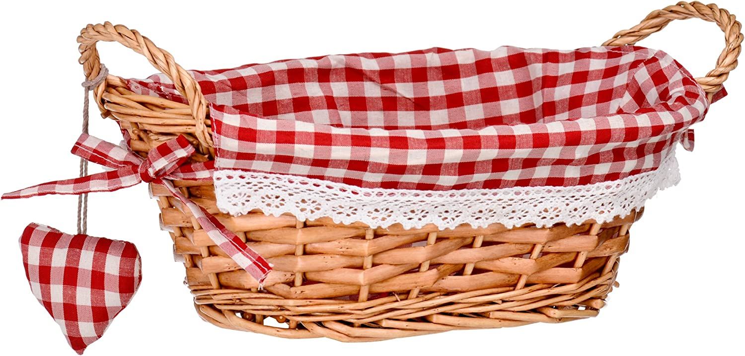 Premier Housewares Oval Willow Basket with Gingham Lining - Red