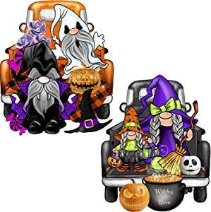 LSKOO 2Pack Halloween Haunted House Tiered Tray Decorations,Halloween Gnome Truck Vintage Wooden Block Autumn Fall Halloween Party Desk Office Home Party Decorations